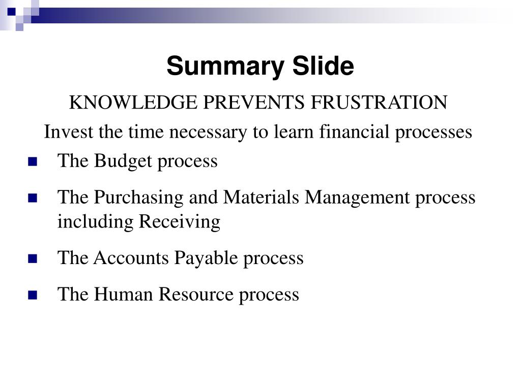 Summary Slide