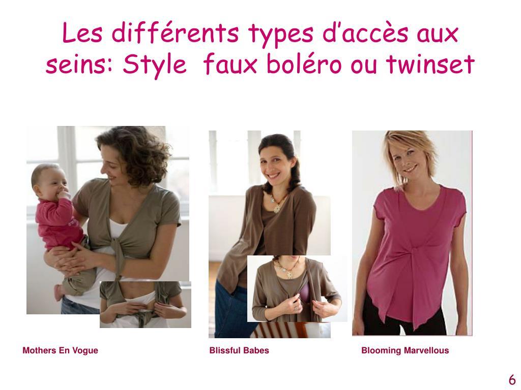 Les différents types d'accès aux seins: Style  faux boléro ou twinset