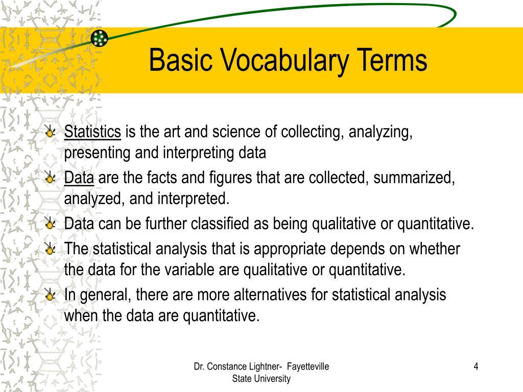 Basic Vocabulary Terms