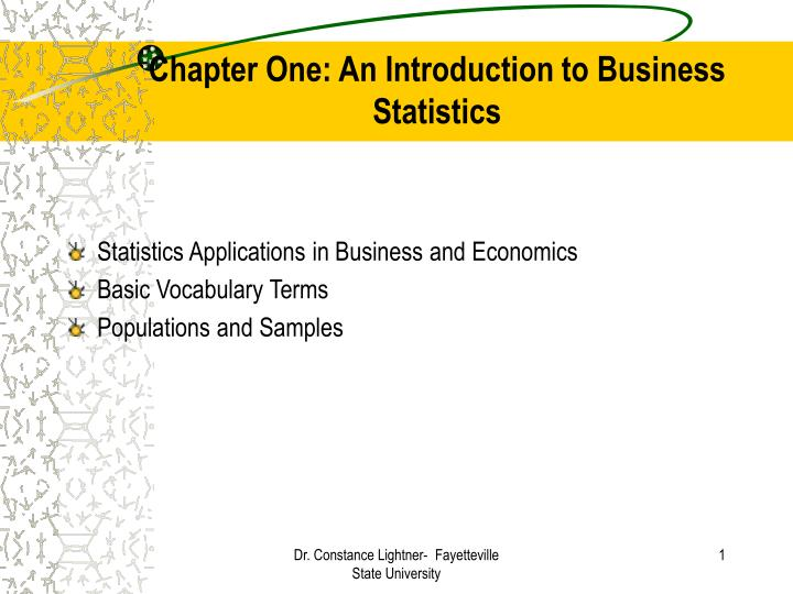 Chapter one an introduction to business statistics