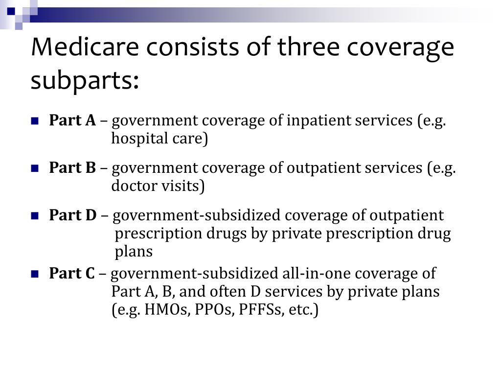 Medicare consists of three coverage subparts: