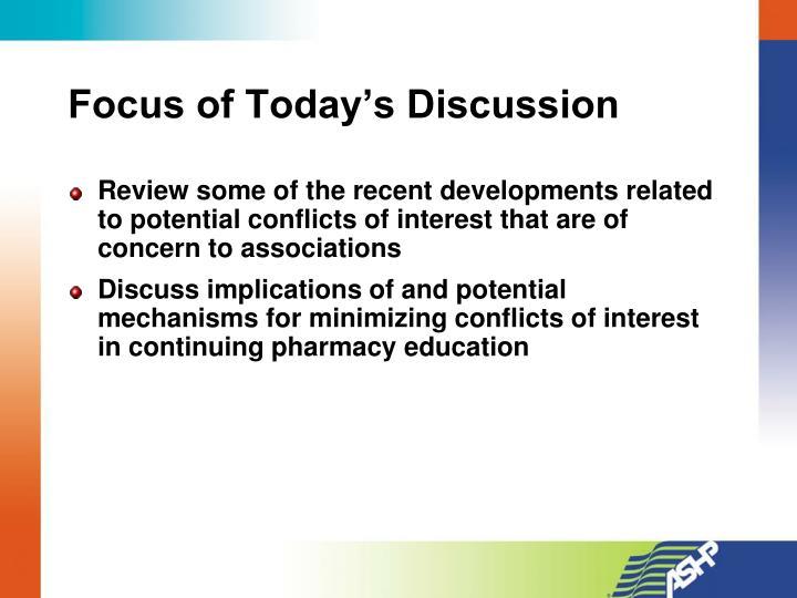 Focus of today s discussion