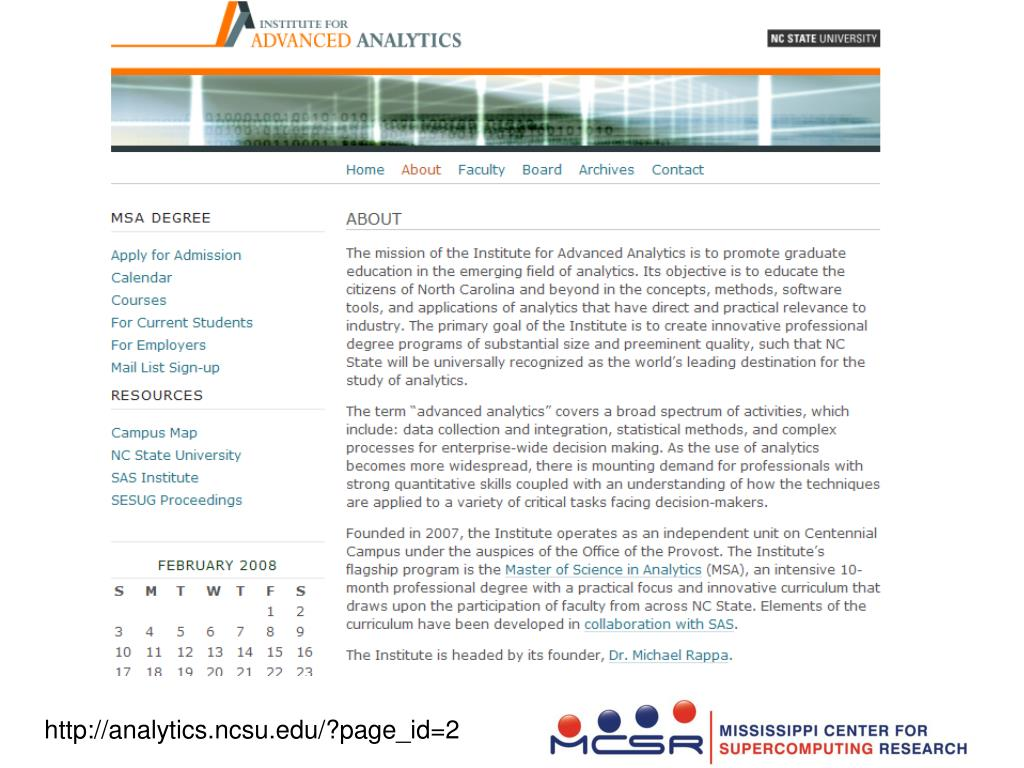 SAS Institute for Advanced Analytics