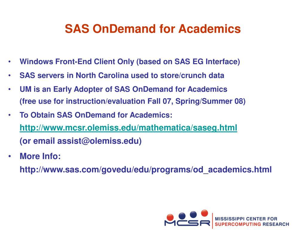 SAS OnDemand for Academics