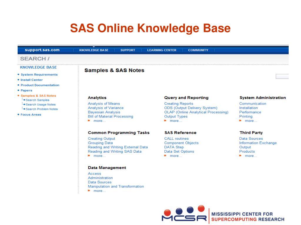 SAS Online Knowledge Base