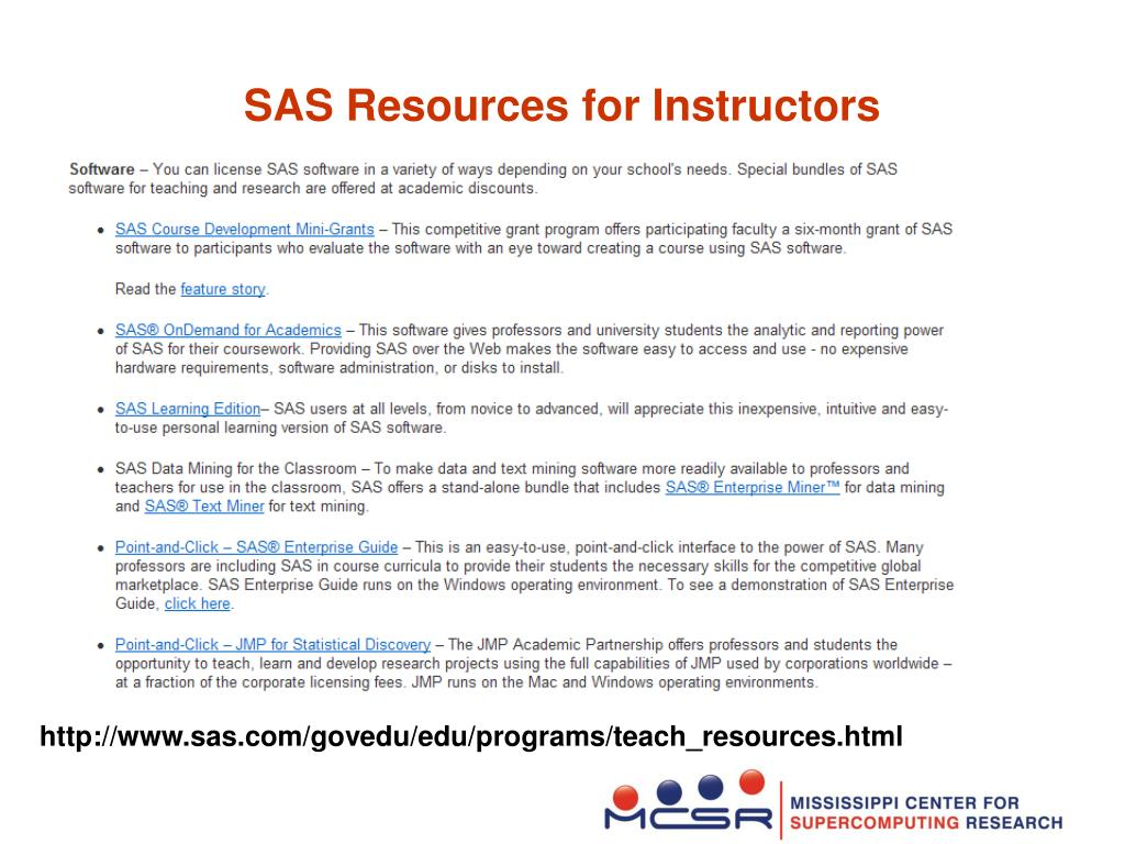 SAS Resources for Instructors