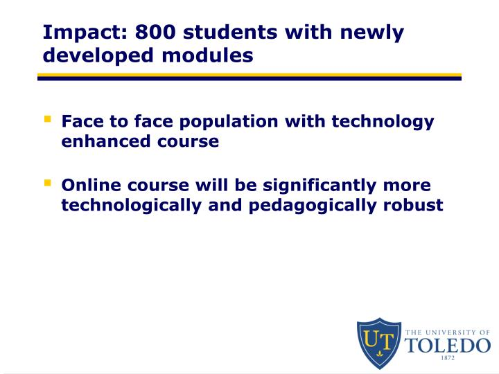 Impact: 800 students with newly developed modules