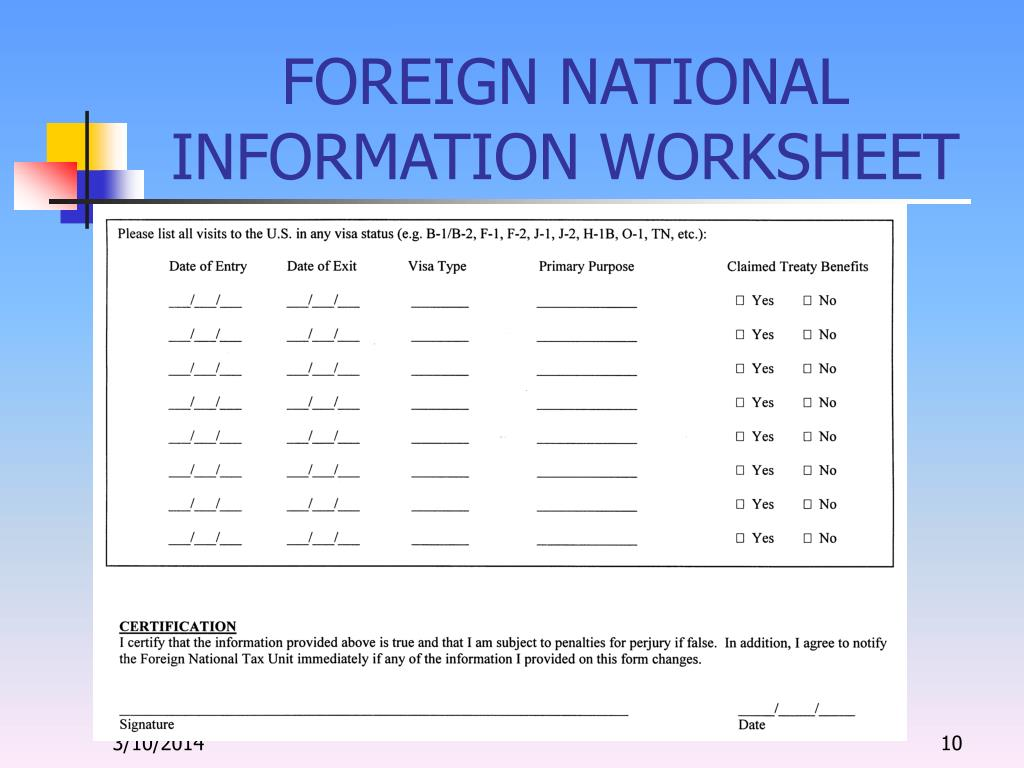 FOREIGN NATIONAL INFORMATION WORKSHEET