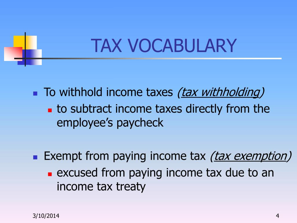 TAX VOCABULARY