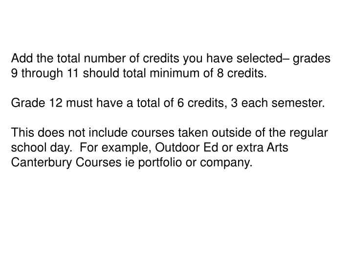 Add the total number of credits you have selected– grades 9 through 11 should total minimum of 8 credits.