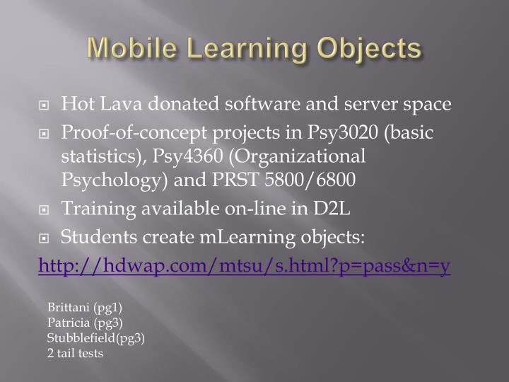 Mobile Learning Objects