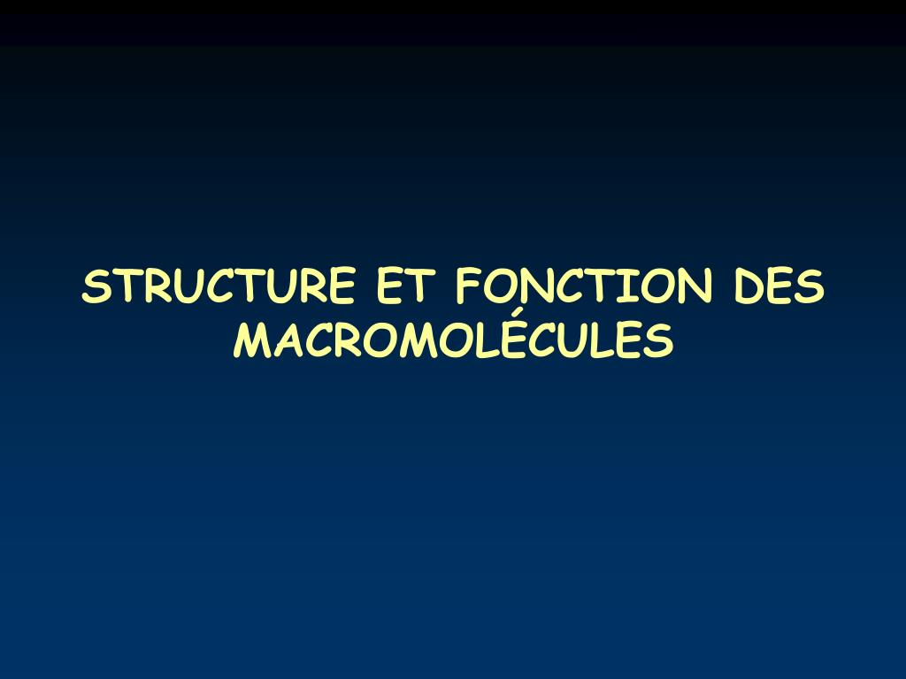 STRUCTURE ET FONCTION DES MACROMOLÉCULES