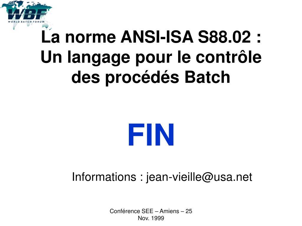 La norme ANSI-ISA S88.02 :
