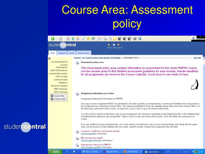 Course Area: Assessment policy