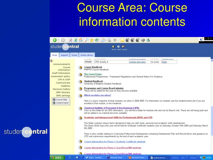 Course Area: Course information contents