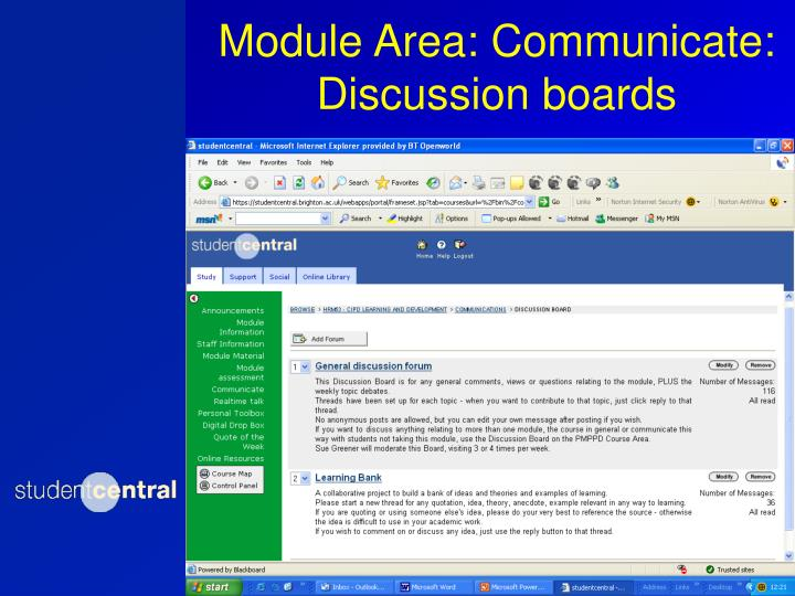 Module Area: Communicate: Discussion boards