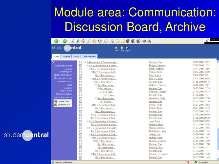 Module area: Communication: Discussion Board, Archive