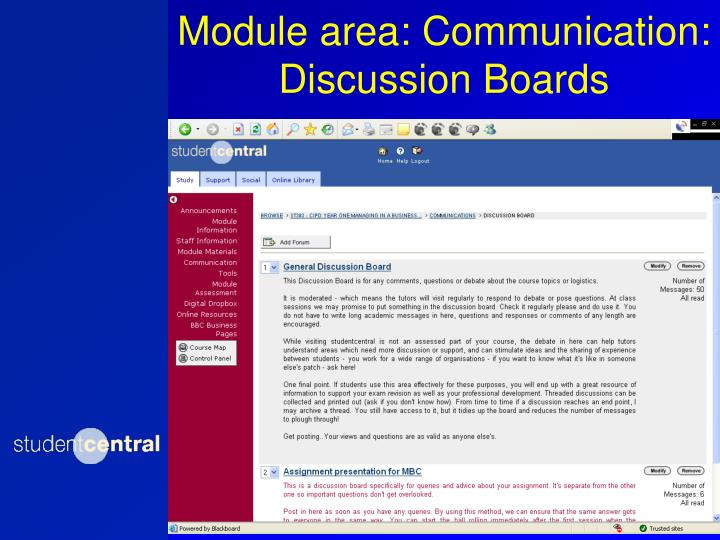 Module area: Communication: Discussion Boards