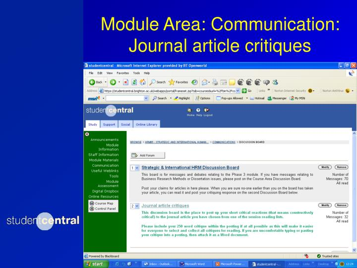 Module Area: Communication: Journal article critiques