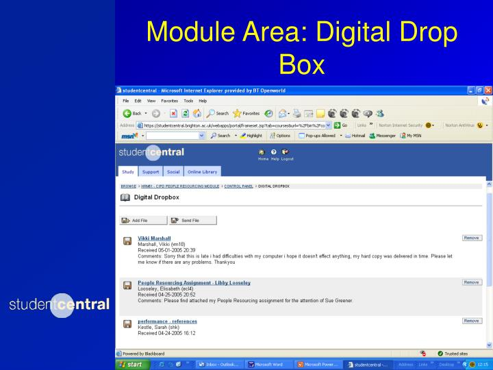 Module Area: Digital Drop Box