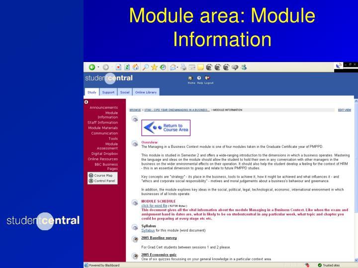 Module area: Module Information