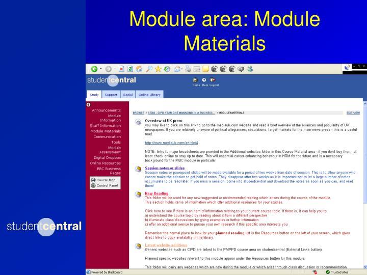 Module area: Module Materials