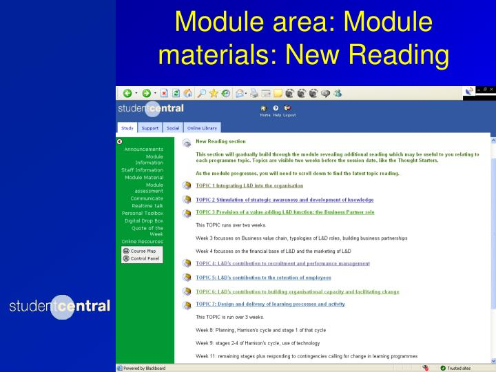 Module area: Module materials: New Reading