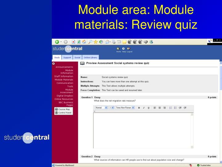 Module area: Module materials: Review quiz