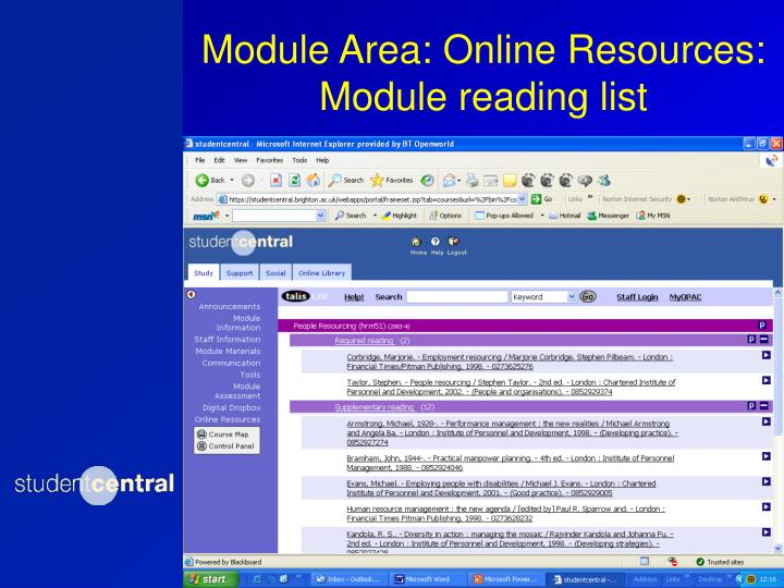Module Area: Online Resources: Module reading list