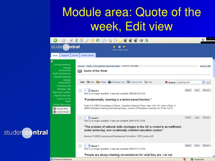 Module area: Quote of the week, Edit view
