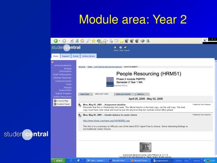 Module area: Year 2
