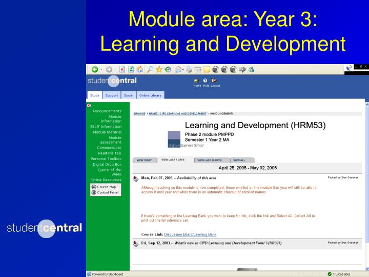 Module area: Year 3: Learning and Development