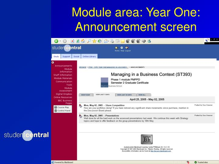 Module area: Year One: Announcement screen