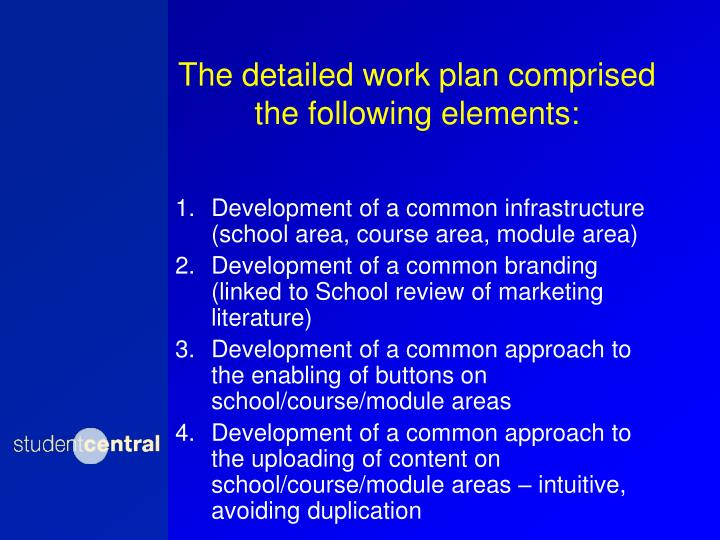 The detailed work plan comprised the following elements: