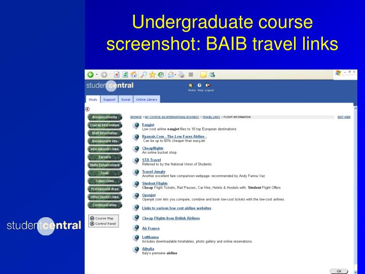 Undergraduate course screenshot: BAIB travel links
