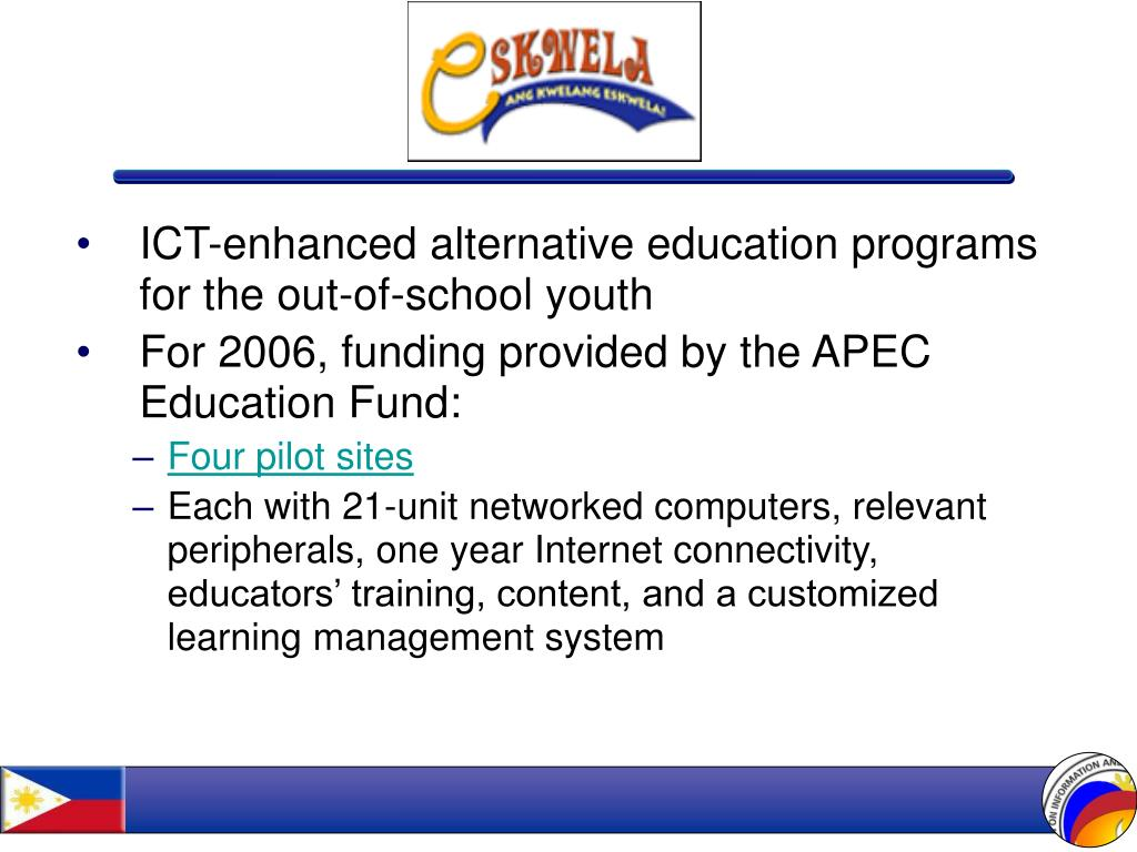 ICT-enhanced alternative education programs for the out-of-school youth