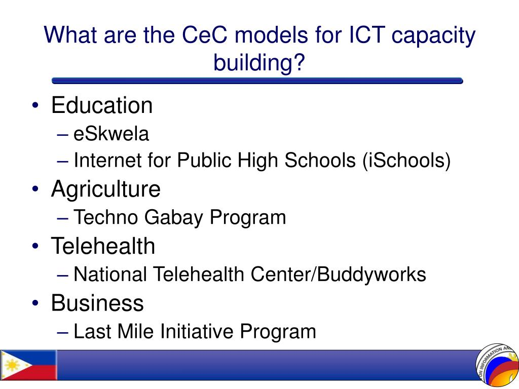 What are the CeC models for ICT capacity building?