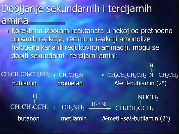 Dobijanje sekundarnih i tercijarnih amina
