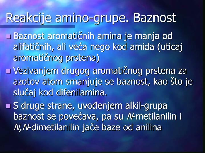 Reakcije amino-grupe. Baznost