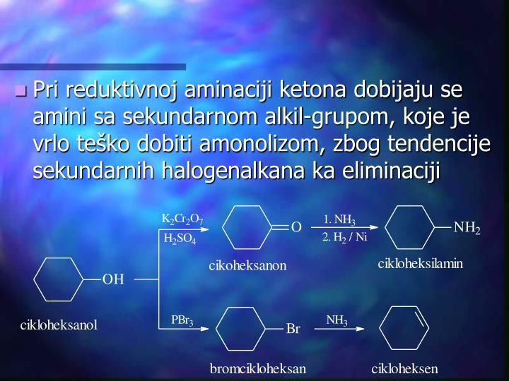 Pri reduktivnoj aminaciji ketona dobijaju se amini sa sekundarnom alkil-grupom, koje je vrlo teško dobiti amonolizom, zbog tendencije sekundarnih halogenalkana ka eliminaciji
