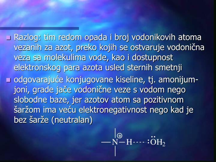 Razlog: tim redom opada i broj vodonikovih atoma vezanih za azot, preko kojih se ostvaruje vodonična veza sa molekulima vode, kao i dostupnost elektronskog para azota usled sternih smetnji