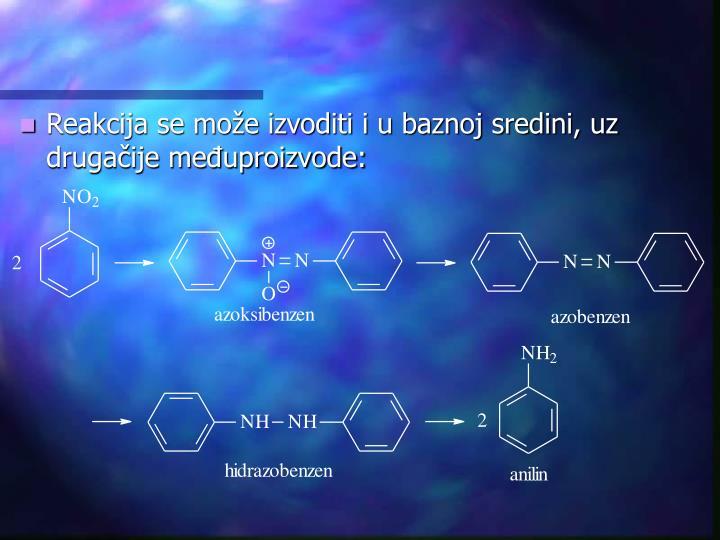 Reakcija se može izvoditi i u baznoj sredini, uz drugačije međuproizvode: