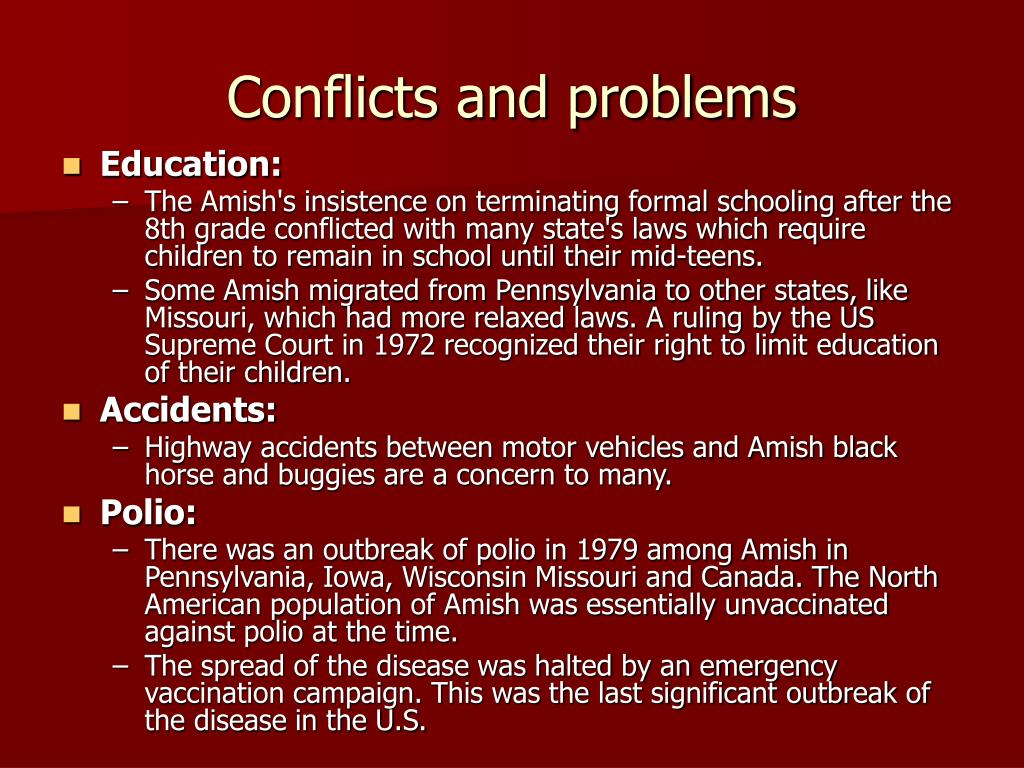 Conflicts and problems