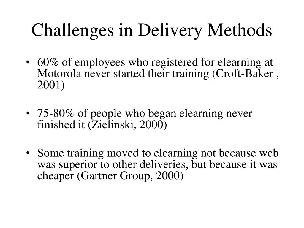 Challenges in Delivery Methods