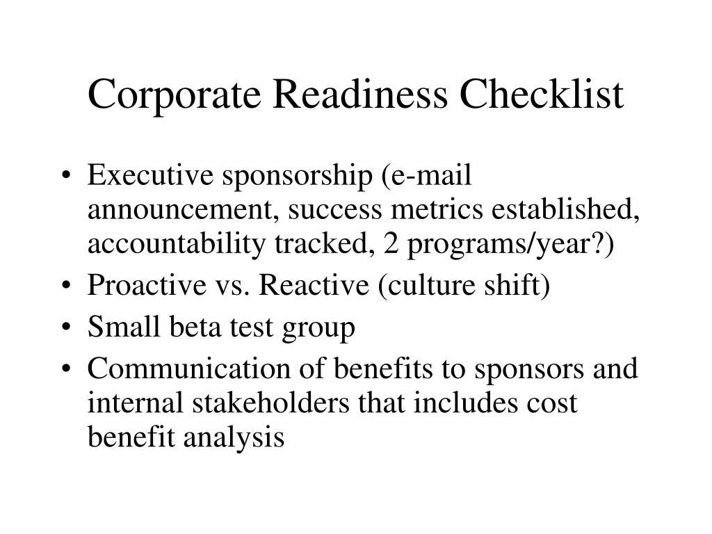 Corporate Readiness Checklist