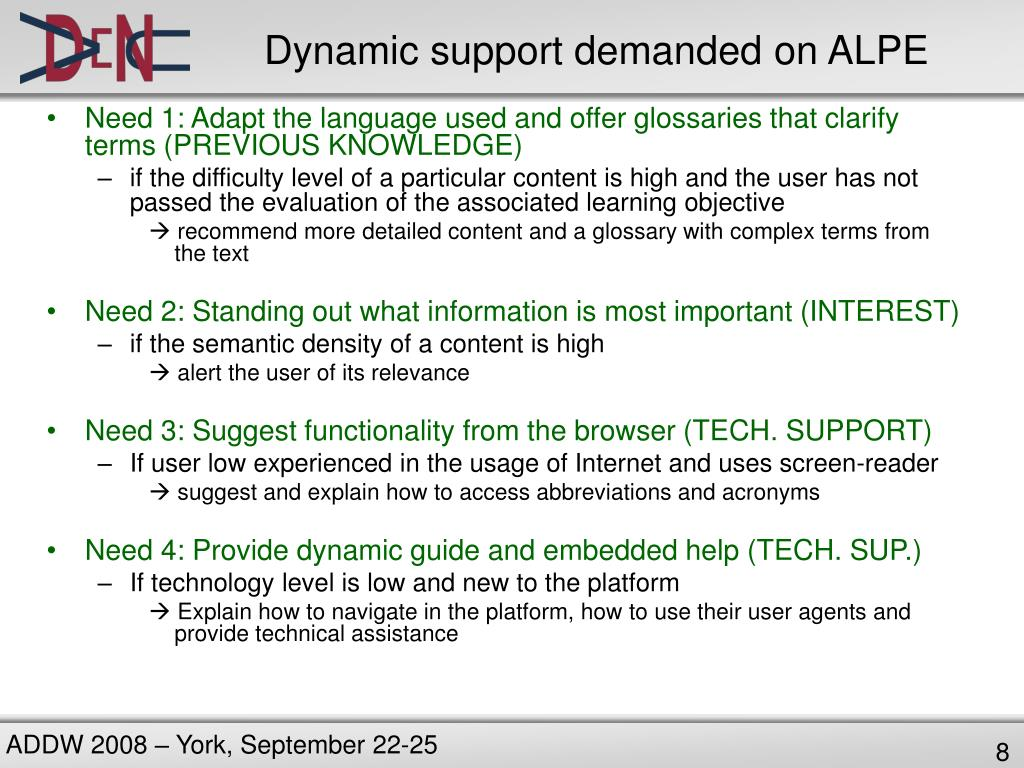 Dynamic support demanded on ALPE