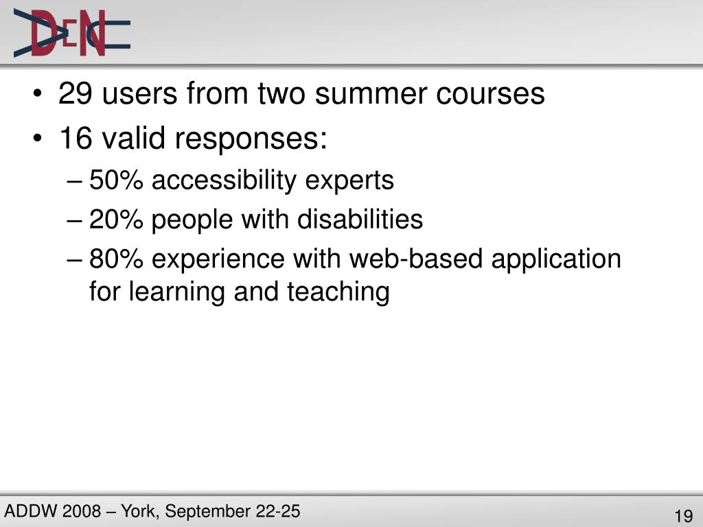 29 users from two summer courses
