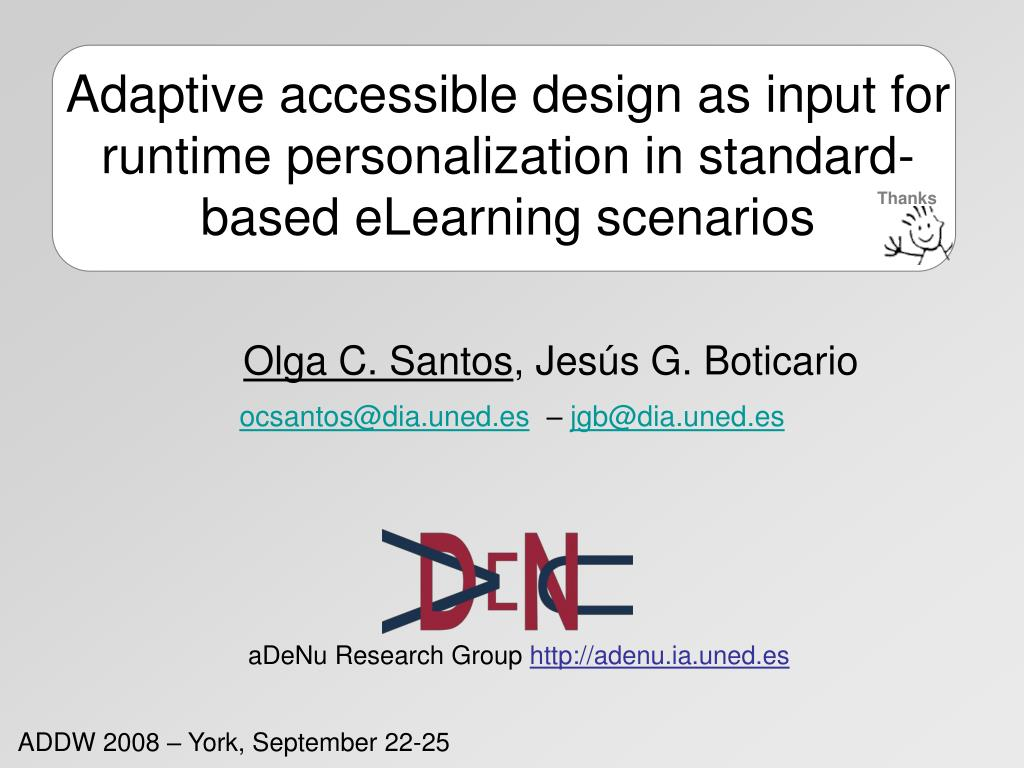 Adaptive accessible design as input for runtime personalization in standard-based eLearning scenarios