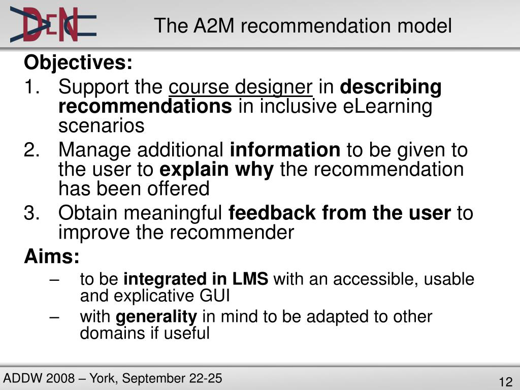 The A2M recommendation model