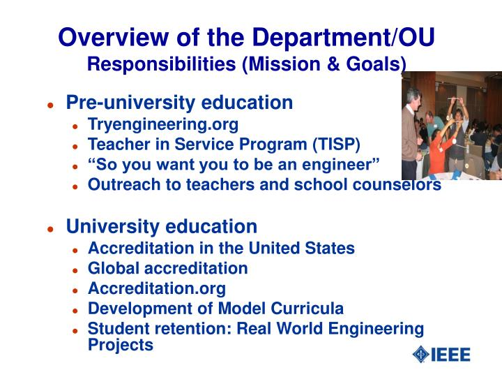 Overview of the department ou responsibilities mission goals